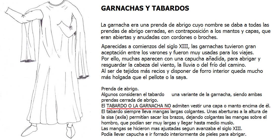 4. ROPA DE SOBRETODO Garnacha, Tabardo, capas y mantos.