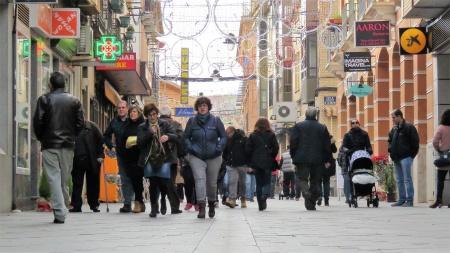Aspecto de la calle Empedrada durante la campaña navideña