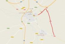Mapa con el desvío alternativo señalizado en rojo