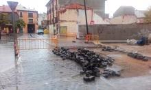 Obras en el cruce de la plaza de Alfonso XIII con calle Monjas y Blas Tello