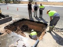 Trabajos de reparación de una avería de la conducción general el pasado mes de agosto