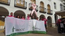 Autoridades y miembros de la AECC bajo el lazo rosa