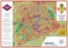 Mapa simulando un plano de metro con rutas peatonales