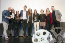 Organizadores y premiados en el festival de cine ManzanaREC