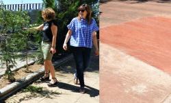 Beatriz Labián e Isabel Díaz-Benito visitan las mejoras de la construcción de rampas y reposición de marras  en el Paseo Príncipe de Asturias