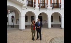 Julián Nieva y Beatriz Labián tras visitar las obras de la nueva televisión municipal