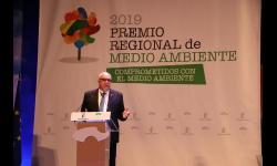 Julián Nieva durante su intervención en la gala del Premio Regional de Medio Ambiente 2019