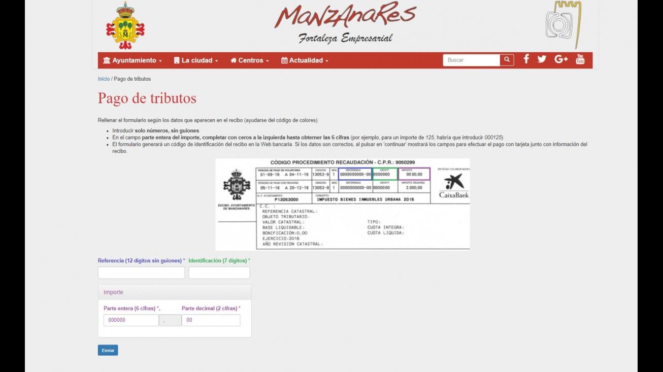 Apartado de la web municipal a través del que se puede efectuar el pago de los tributos