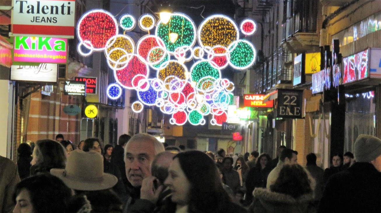Zona comercial de Manzanares en Navidad