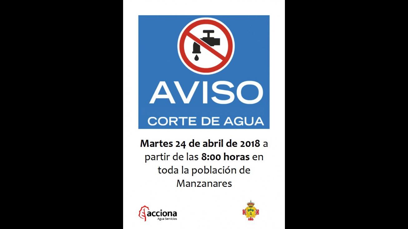 Cartel anunciador del corte de agua