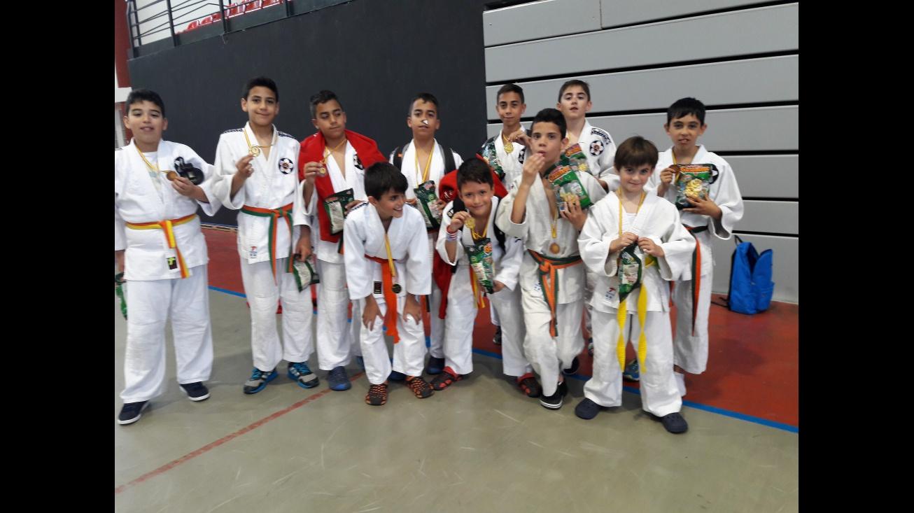 Competidores manzanareños en el festival de judo de Puertollano