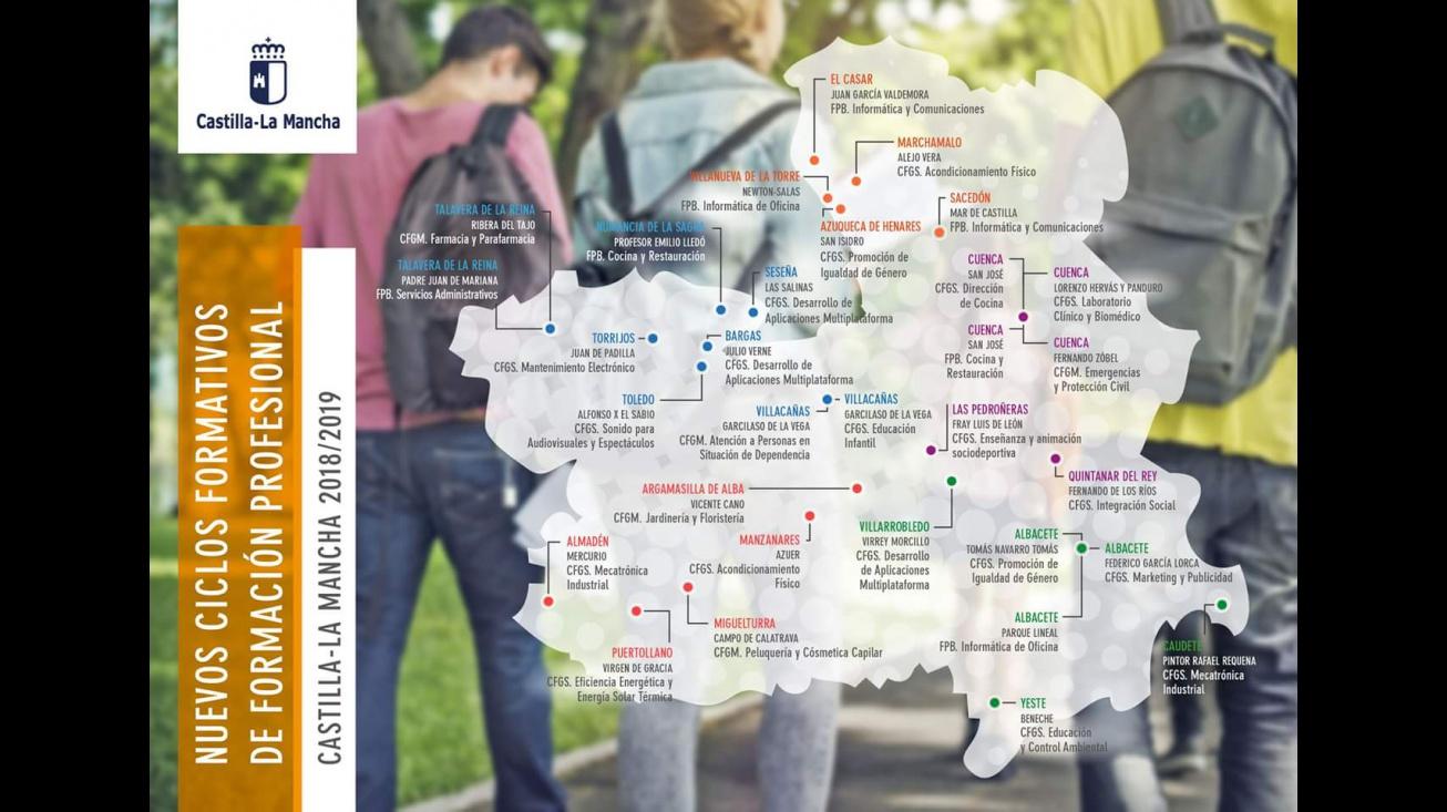 Mapa de nuevos ciclos de FP en Castilla-La Mancha