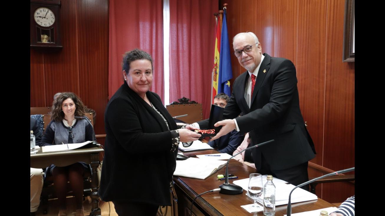 María José Aranda y Julián Nieva en el pleno de enero de 2020