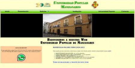 Página Web de la Universidad Popular de Manzanares