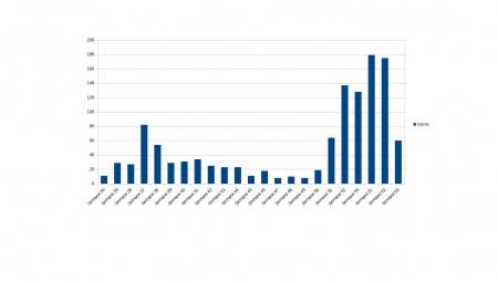 Curva semanal de nuevos casos COVID en Manzanares