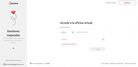 Imagen de la web de la oficina virtual de Acciona