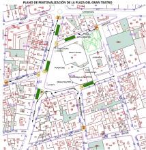 Plano de peatonalización de la plaza del Gran Teatro