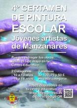 Cartel del IV certamen de pintura escolar 'Jóvenes artistas de Manzanares'
