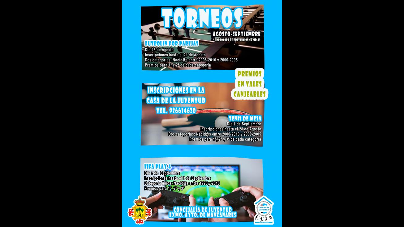 Cartel de los torneos de la Casa de la Juventud