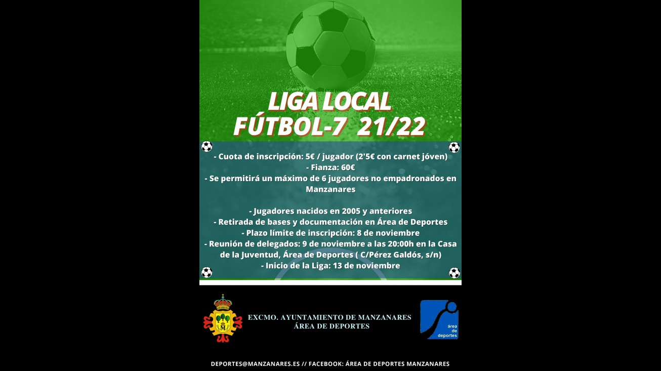 Cartel de la liga local de fútbol 7